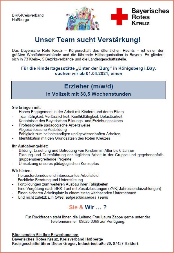 Unser Team sucht Verstärkung: Erzieher (m/w/d) in Vollzeit mit 38,5 Std./Wo ab 01.04.2021